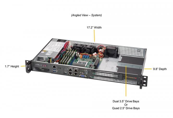 SYS-5019D-FTN4 Supermicro Dual 3.5 Drive Bays