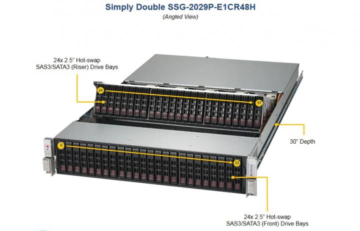 Supermicro SSG 2029P E1CR48H 24x2.5 Hot-swap SAS3