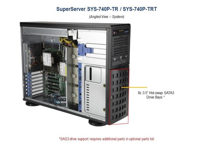 Supermicro SYS-740P-TR 8x 3.5 Hot-swap SATA3 Drive