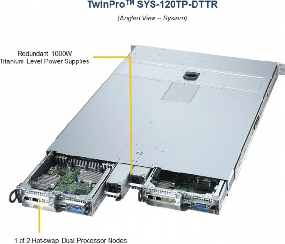 Supermicro SYS-120TP-DTTR Angled View 1 of 2 Hot-S