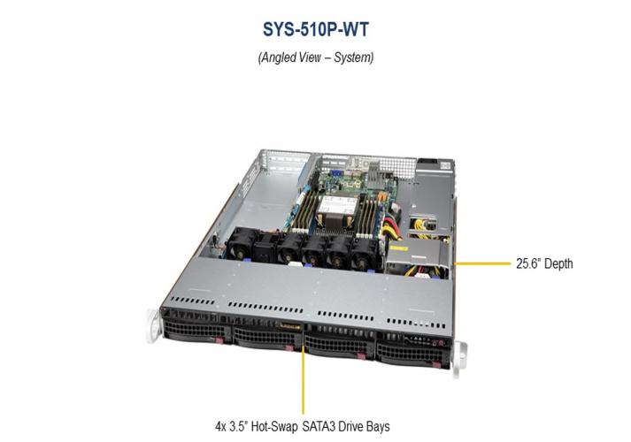 Supermicro SYS-510P-WT 1U Rack 4x 3.5 Hot-swap