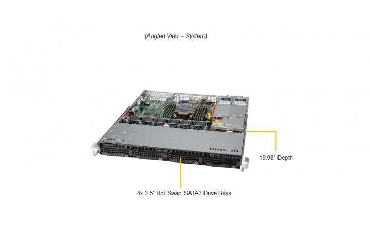 Supermicro SYS-510P-MR 1U Rack 4x 3.5 Hot-swap