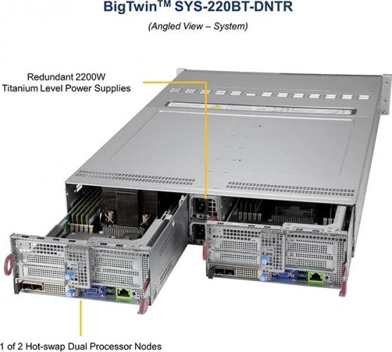 Supermicro SYS-220BT-DNTR Redundant 2200W Titanum